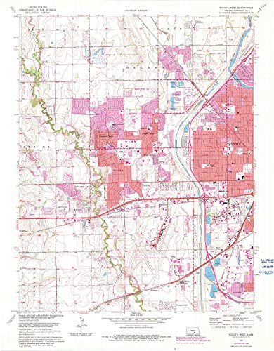 (YellowMaps Wichita West KS topo map, 1:24000 Scale, 7.5 X 7.5 Minute, Historical, 1961, Updated 1983, 27.11 x 21.14 in - Paper)