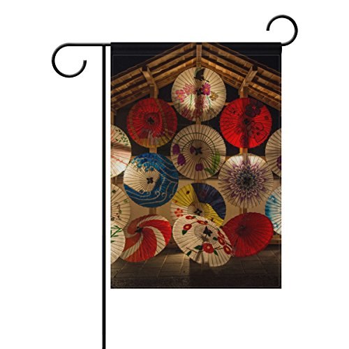 "LEISISI Japanese Oil Paper Umbrella Pattern Garden flag 28""X"