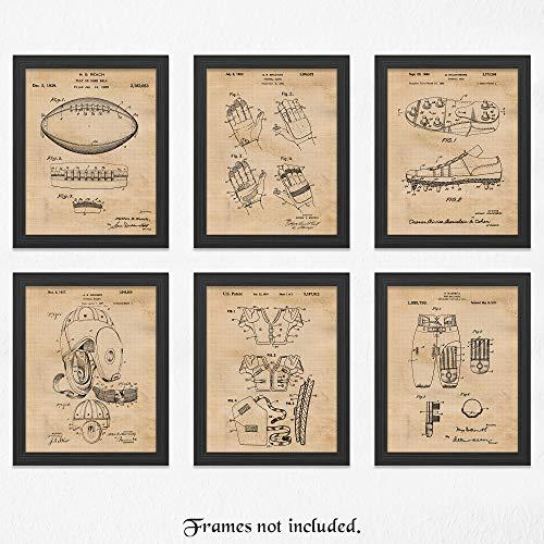 Original Football Patent Art Poster Prints - Set of 6 (Six) Photos - 11x14 Unframed - Great Vintage Wall Art Decor Gifts for Football Players, NFL, NCAA Pigskin fans, Man - Art Nfl