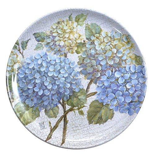 Floral Design Dinner Plate (Melamine Plates Plastic Plates Dinner Plates Set of Four 10 inches Square Extra Heavy Weight Hydrangea Design)