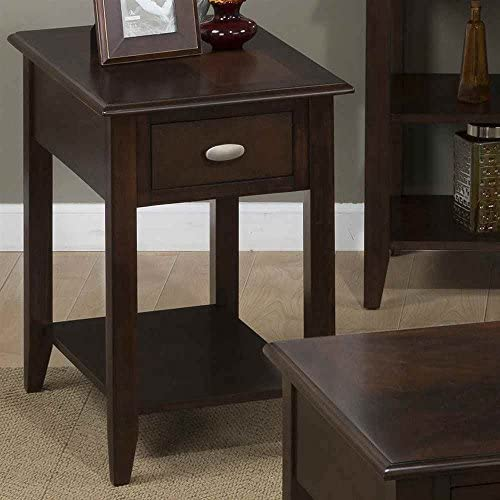 Jofran Chair Side Table with Bookmatch Inlay