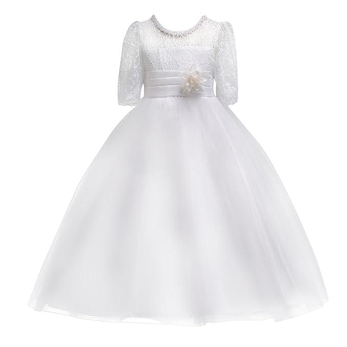 0e8e855fd499 Toddler Girls Tulle Lace Wedding Bridesmaid Flower Girl Easter Dress 1/2 Half  Sleeve Formal