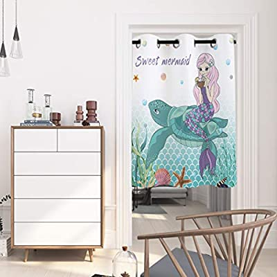Arts Language Windows Treatment Blackout Curtains Grommet Drapes for Boys/Girls Kids Bedroom Summer Sweet Mermaid Sear on Turtle Printed Room Darkening Curtains for Livingroom/Office, 1 Panel 52x84in: Home & Kitchen