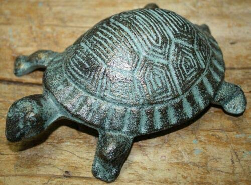 - JumpingLight Cast Iron Antique Style Nautical Turtle Statue Garden Pond Pool Doorstop Green Cast Iron Decor for Vintage Industrial Home Accessory Decorative Gift