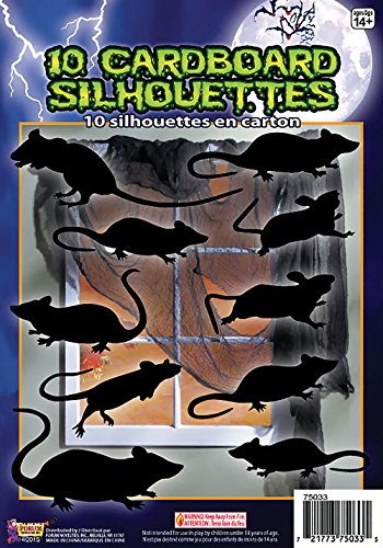 - Forum Novelties 10 Piece Silhouette Shadow Rats, Black