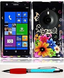 Accessory Factory(TM) Bundle (the item, 2in1 Stylus Point Pen) For Nokia Lumia Elvis 1020 Design Cover Case - Chromatic Flower