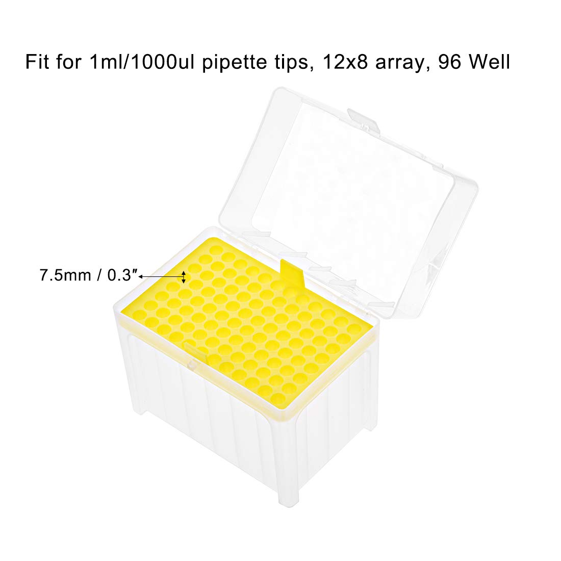 uxcell Pipette Tips Box 96-Well Polypropylene Tip Holder Container for 1ml//1000ul Pipettor 7.5mm Hole Diameter Yellow