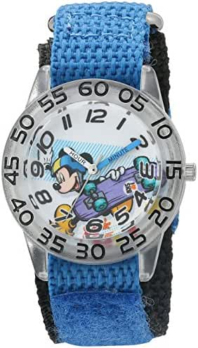 Disney Boy's 'Mickey Mouse' Quartz Plastic and Nylon Automatic Watch, Color:Blue (Model: W002995)