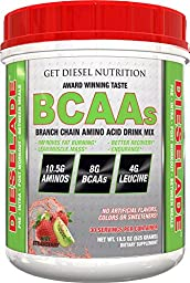 Dieselade All Natural Best Bcaa Available (Kiwi Strawberry) - 8g Vegan BCAAs per serving
