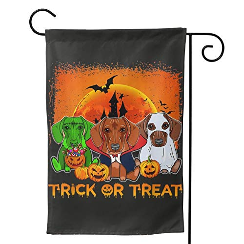 Dachshund Halloween Scary Dog Bat Big Large Jumbo for Party Themed Flag Welcome Outdoor Outside Decorations Ornament Picks Garden Yard Decor Double Sided 12.5X 18 (Dachshund Garden Ornament)