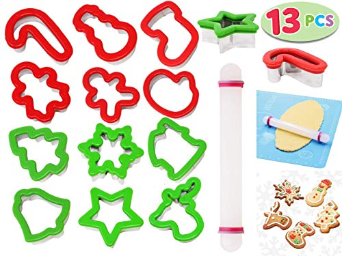 Cortadores De Galletas Halloween (JOYIN13 Pieces Stainless Steel Christmas Cookie Cutters with Comfort Grip 3.5í plus a Rolling Pin for Large Holiday Cookies, Snowflake Cookies, Gingerbread Man Cookies, Christmas Party and Baking)
