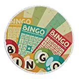 iPrint Thick Round Beach Towel Blanket,Vintage Decor,Bingo Game with Ball and Cards Pop Art Stylized Lottery Hobby Celebration Theme,Multi,Multi-Purpose Beach Throw