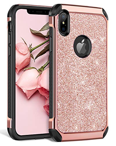 "BENTOBEN iPhone Xs Max Case, iPhone Xs+ Bling Glitter Slim Shockproof Two Layer Protective Shiny Girl Women Faux Leather Full Body Soft Bumper Phone Cover for Apple iPhone Xs Max 6.5"", Rose Gold"