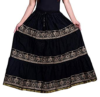 b22792e97 Rajasthani Ethnic Skirt Women's Cotton Jaipuri Block Print Self Design  Flared Long Skirts (Black, Free Size): Amazon.in: Clothing & Accessories