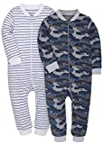 SHENGWEN Baby Footless Striped Pajamas 2-Pack Boys Girls 100% Cotton Sleep and Play (Camouflage+Blue, 18-24m)