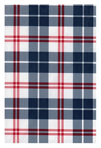 Kane Patriotic Plaid PEVA Vinyl Tablecloth 4th of July Flannel Backed (52 x 90 Rectangle) ()