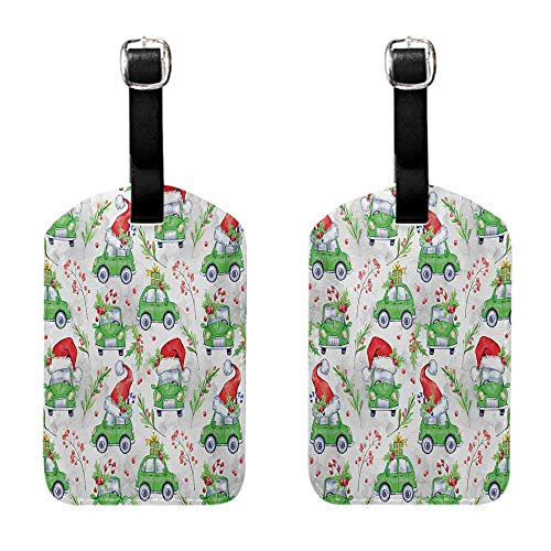 Tags with Cars,Noel New Year Celebrations Christmas Composition with Green Cars Santa Hats,Lime Green Scarlet Luggage Suitcase]()
