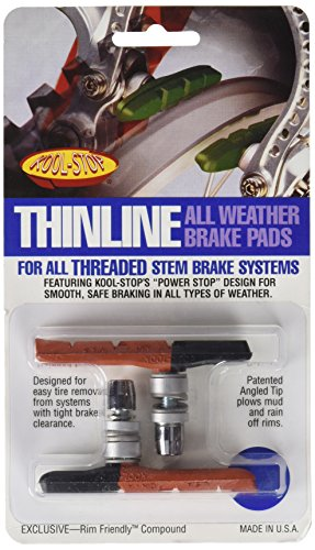 Kool Stop Thinline Dual Compound Threaded Brake Shoes, Black/Salmon