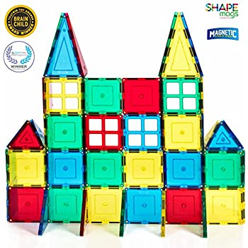 Magnetic Stick N Stack Magnetic Tiles Starter set With 4 Windows, 60 Piece, Red, Orange, Blue, Green & Yellow