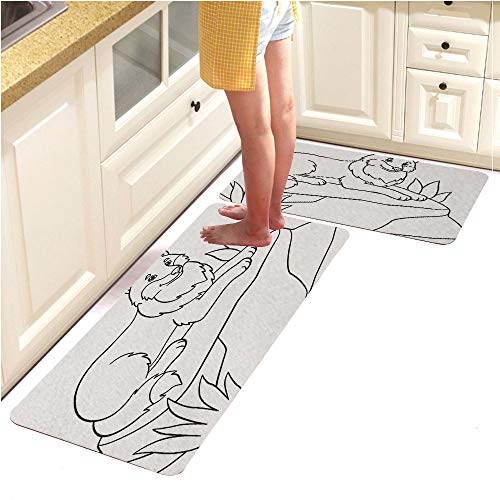 Pebbles Alphabet Page (Rugs Runner Rug -Non Skid Carpet Entry Rugs Runners for Kitchen and Entryway,Coloring Pages Cute Beautiful Wolf Lies on The Stone (18