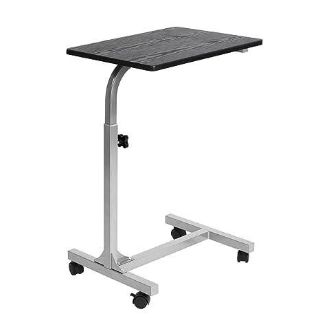 WarmCentre Laptop Desk Cart Ángulo ajustable y altura Soporte de computadora Mesa auxiliar con rueditas para