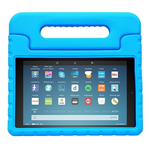 Large Product Image of BMOUO Case for All-New Fire HD 8 2017/2018 - Light Weight Shock Proof Convertible Handle Kid-Proof Cover Kids Case for All-New Fire HD 8 Tablet (7th and 8th Generation, 2017 and 2018 Release), Blue