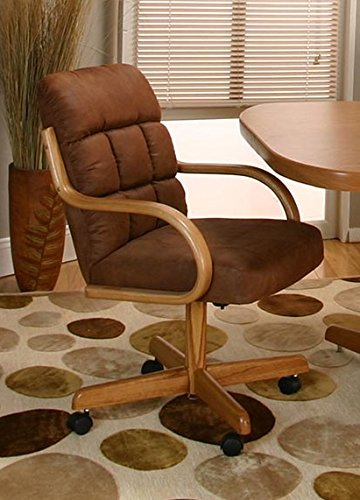 Back Swivel Dining Chair (Casual Rolling Caster Dining Chair with Swivel Tilt in Oak Wood with Microsuede Seat and Back (Set of 2))