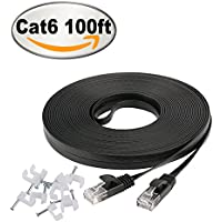 Jadaol Cat 6 Flat Ethernet Cable 100 ft Black with Cable...