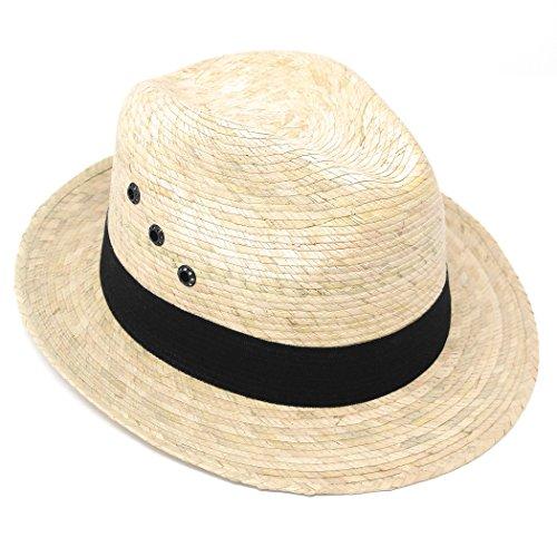 Mexican Palm Leaf Straw Wide Brim Fedora Hat, Black Hatband w/ Grommets (Light Tan)