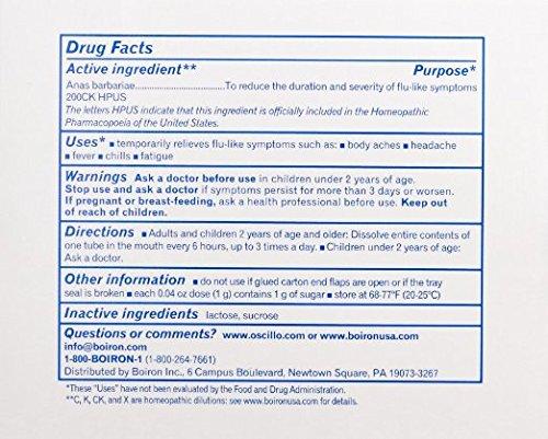 Boiron Oscillococcinum for Flu-like Symptoms Pellets, 30 Count/0.04 Oz each (Pack of 3)