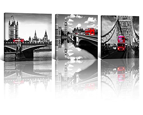 NAN Wind 3 Pcs Modern Giclee Canvas Prints London Black and White with Red Bus Wall Art London Bridge Poster Cityscape Paintings on Canvas Stretched and Framed Ready to Hang for Home Decor