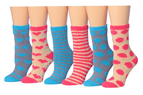 (Tipi Toe Women's 6-Pairs Heart Polka Dot Funky Anti-Skid Soft Fuzzy Crew Socks Pink & Blues sock size 9-11 (Fits shoe size 6-9))