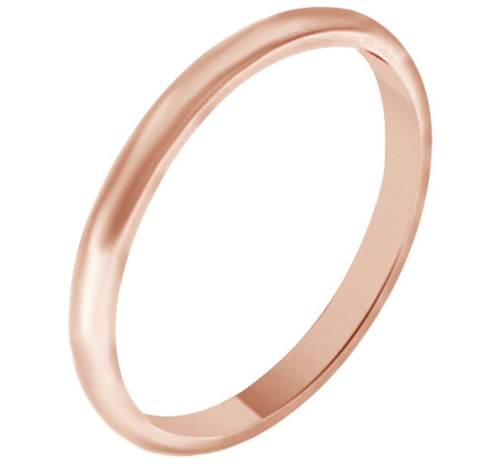 Solid 14K Rose Gold 2MM Comfort Fit Men & Women Wedding Band Ring