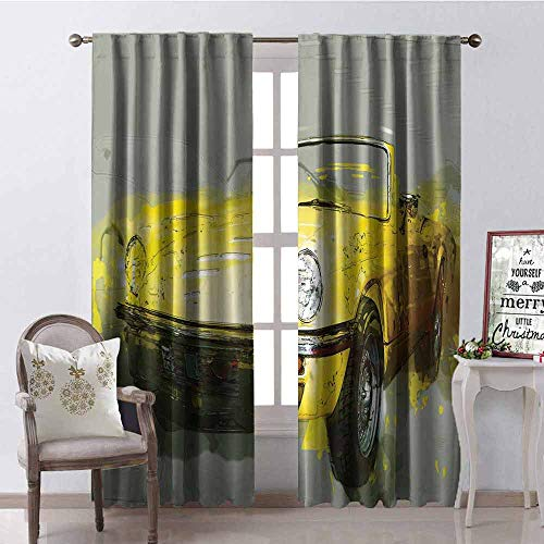 GloriaJohnson Car Blackout Curtain Retro Style Classic 50s 60s Cuban American Watercolor Big Cosy Car Print Picture 2 Panel Sets W42 x L84 Inch Sage Green Yellow]()