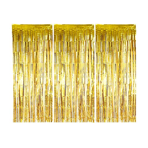 Eoonfirst 3 Pack Gold Metallic Tinsel Foil Fringe Curtains 3.01 ft x 8.03 ft for Birthday Wedding Party Photo Backdrop Decorations