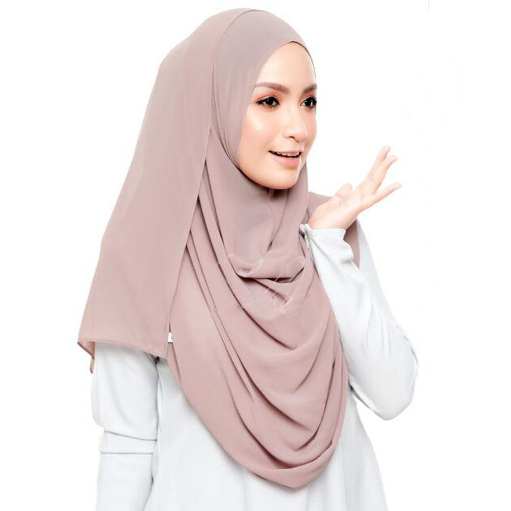 LMVERNA Chiffon Hijab Scarf Solid Color Muslim Hijab Long Scarf wrap Scarves (Light Khaki)