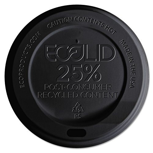Ecolid 25% Recy Content Hot Cup Lid, Black, F/10-20oz, 100/pk, 10 Pk/ct