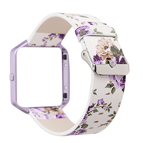 YOSWAN Replacement Band for Fitbit Blaze, Watchband Floral Soft Leather Strap Replacement Watch Band Wristband Bracelet Strap and Frame for Fitbit Blaze (White Purple+ Purple Frame) ()