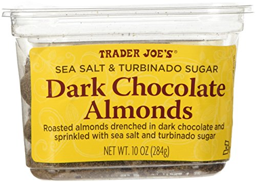 Trader Joes Sea Salt & Turbinado Sugar Dark Chocolate Almonds 10 oz