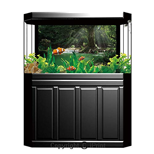 """Terrarium Fish Tank Background,Nature,Tropical Forest Foliage with Cascade Rainforest Relaxing National Park Image,Hunter Green Brown,Photography Backdrop for Pictures Party Decoration,W48.03""""xH18.11"""""""
