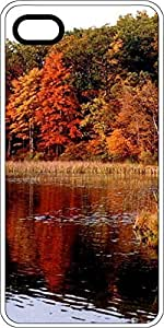 Autumn Fall Colors Lake Scene White Plastic Decorative iPhone 6 Case by mcsharks