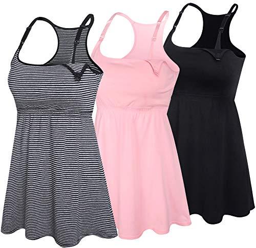 SUIEK 3PACK Racerback Nursing Tops Tank Cami Maternity Bra Breastfeeding Sleep Shirt (Large, Black+Stripe+Pink 3Pack)