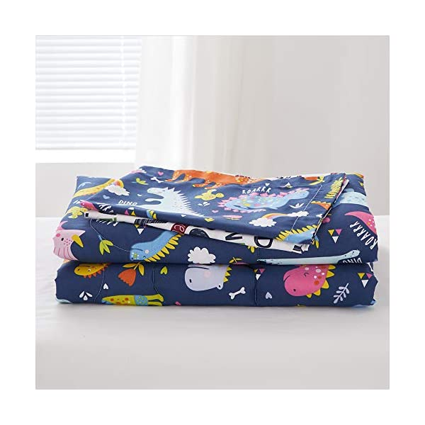 Joyreap 4 Piece Toddler Bedding Set, Standard Size Colorful Dinosaur Printed on Navy, Includes Quilted Comforter, Fitted Sheet, Top Sheet, and Pillow Case for Boys n Girls 5