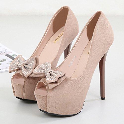 Jqdyl High Heels Heels Heels Flacher Mund Damenschuhe Mode Flacher Mund Fischmaul Schmetterling Strass Frauen Singles Schuhe Apricot ae4e61