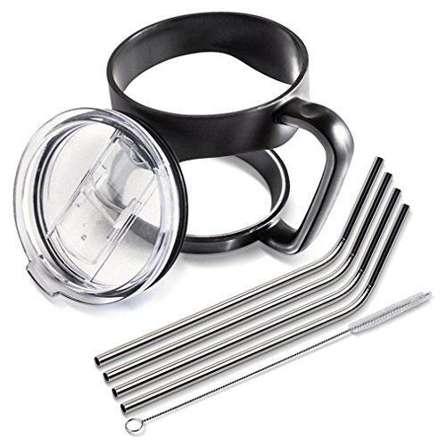 5Pillars 7 Piece Tumbler Bundle with Cup Handle, Spill Proof Slide Lid and Stainless Steel Drinking Straws, 30 oz.