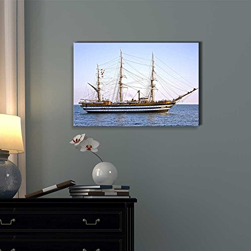 Beautiful Old Wooden Sailing Vessel Ship on The Sea Wall Decor