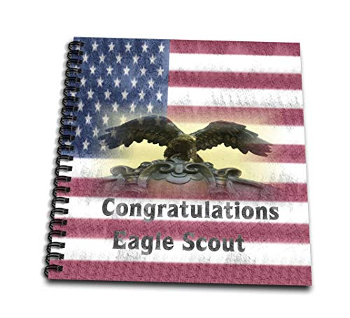 (3dRose db_271133_2 Image of Grunge Congratulations Eagle Scout On Flag Memory Book, 12 x 12