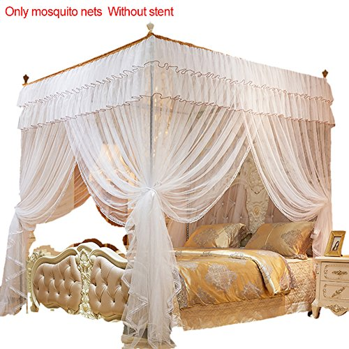 Poster Four Canopy (cheerfullus 4 Corners Post Princess Bed Canopy Mosquito Net,White,Queen Size)