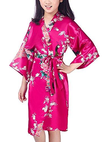 - Mobarta Kids' Floral Satin Kimono Robe Peacock Bathrobe Flower Girl Getting Ready Robe for Wedding Spa Party Birthday Rose Red