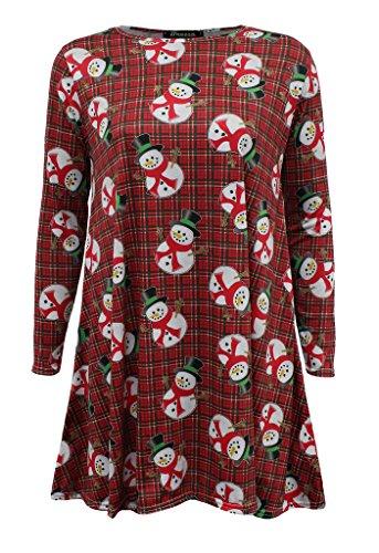 Fashion 4 Less - Vestido para mujer, manga larga, estilo navideño Snowman Redtartan